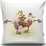 Premium Decorative Cushion Throw Pillow Hypoallergenic Stuffer Silicone Filling (17'' x 17'') | Animal Ice Skiing Duck Scarf Dance Romantic Couple Home 50% Cotton 50% Polyester Full with Silicone