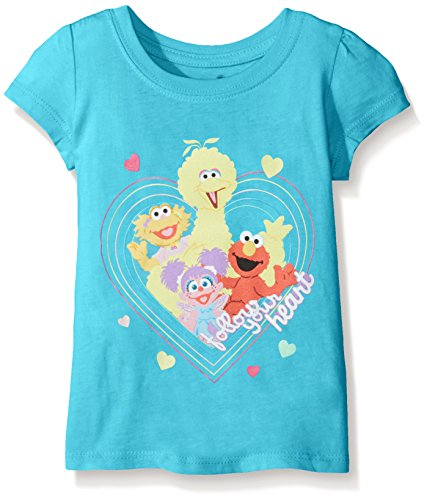 Sesame Street Little Girls' Toddler Short Sleeve T-Shirt, Aqua Turquoise, ()