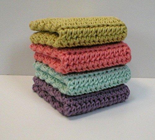 Handmade Crochet Cotton Washcloths Dishcloths (Set of 4) Lavender, Pastel Blue, Peach (Conch), Yellow (Knit Towel Kitchen)