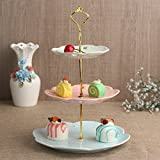 weddingwish 3 Tier Round Porcelain Mixed color Cupcake Stand/Cake Stand/Dessert Stand/Food Display Stand (Golden Stem) …