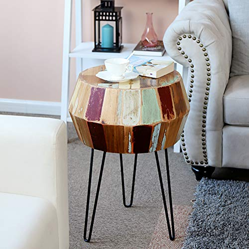 "WELLAND Side Table Reclaimed Wood, Round Hairpin Leg End Table, Night Stand, Recycled Boat Wood, 20"" Tall"