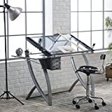 Metal Drafting Table with Collapsible Glass Side Shelf Solid Tempered Blue Safety Glass Work Top Surface Top Angle Adjustment up to 35 Degrees Durable Heavy Gauge Style Furniture and Décor