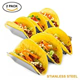 Set of Taco Holder Stainless Steel Taco Stand - Dishwasher & Oven Safe - Easy To Use Taco Rack And Perfect To Keep Your Delicious Tacos Upright – Best Gift Idea, by KQ Sales