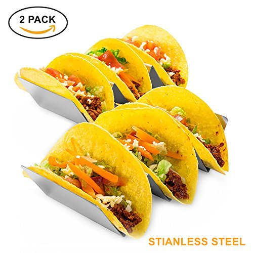 Set of Taco Holder Stainless Steel Taco Stand - Dishwasher & Oven Safe - Easy To Use Taco Rack And Perfect To Keep Your Delicious Tacos Upright – Best Gift Idea, by KQ Sales by KQ Sales