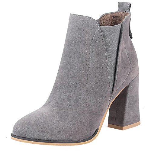 AIYOUMEI Womens Round Toe Elastic Cone Heel Solid Autumn Winter Ankle Boots Gray nrif6g