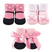 Luvable Friends 3-Pack Little Shoe Socks Gift Set, Ballerina, 0-9 Months