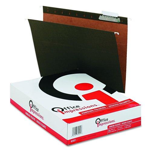 Office Impressions Hanging File Folders, 1/5 Tab Cut, Letter Size (8.5 x 11), Standard Green, 25 per Box (82021)