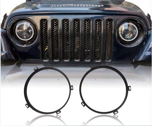 Jeep Headlight Bezel - Jeep Wrangler 7inch Round Headlight Mounting Bracket Black Ring for 2007-2018 Jeep JK & Wrangler Unlimited