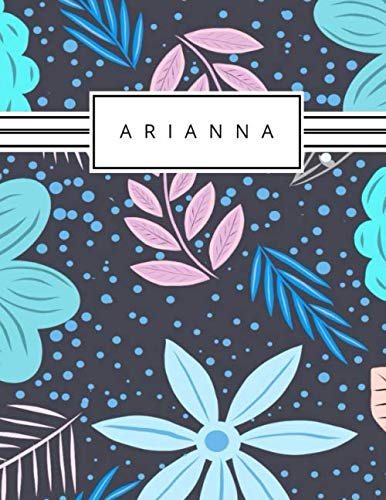 Arianna: Personalized blue flowers sketchbook with name: 120
