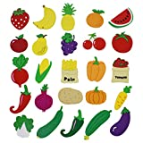XHAOYEAHX Cute Fruits Vegetables Stereo Refrigerator Fridge Magnets for Kids Activity Home Decoration Stickers a Set of 25 Pieces
