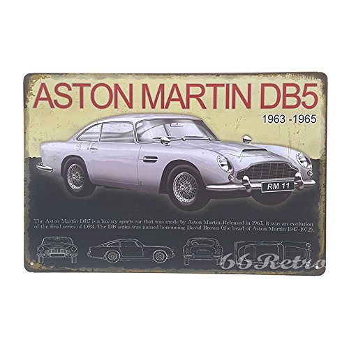 66Retro Aston martin DB5 1963-1965, Vintage Retro Metal Tin Sign, Wall Decorative Sign, 20cm x 30cm (Db5 8 1 Aston Martin)