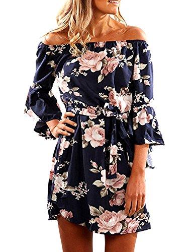 Kbook Women's Off Shoulder Flare Sleeve Vintage Floral Print Boho Mini Dress with Belt,Large,Navy Blue