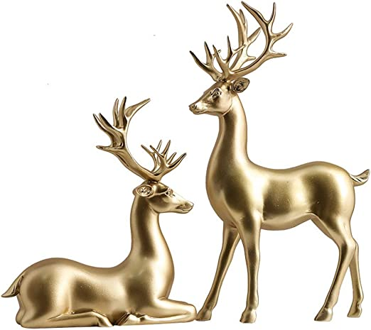 Set of 2 Resin Elk Deer Couple Home Figurine Display Statue Ornaments