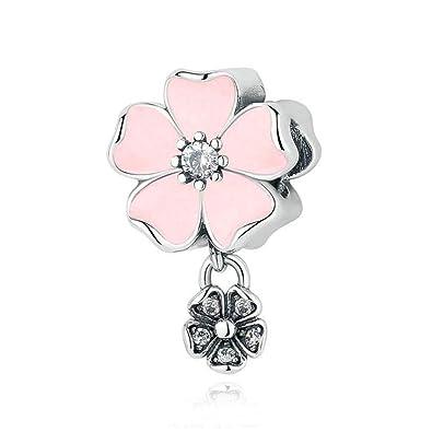 41a05259eaa61 Romántico Amor Magnolia Bloom/Rose/Cherry Flower Charm Pink Enamel & CZ  Silver Bead Fit Pandora Charm Bracelet