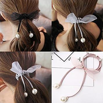 Korea Handmade Pearl Rubber Hair Band Hair Accessories Headwear Girls Headband For Women Hair Bows 5 Apparel Accessories