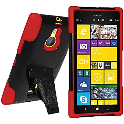 Amzer Double Layer Hybrid Case Cover with Kickstand for Nokia Lumia 1520 - Retail Packaging - Black/Red from Amzer