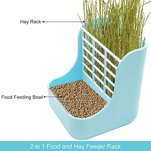 - AQUEENLY Hay Feeder, 2 in 1 Food and Hay Feeder Rack for Rabbit, Guinea Pig and Other Small Animals, Blue