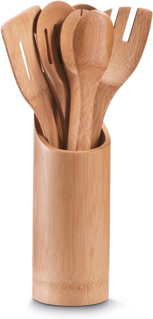 Beige 0.1x9x33 cm 7 unit/à Bamboo Zeller 25274 Porta-Utensili da Cucina