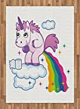 Funny Area Rug by Lunarable, Unicorn Pooping Rainbow over Clouds Creative Kids Girls Fairy Tale Fantasy Cartoon, Flat Woven Accent Rug for Living Room Bedroom Dining Room, 5.2 x 7.5 FT, Multicolor