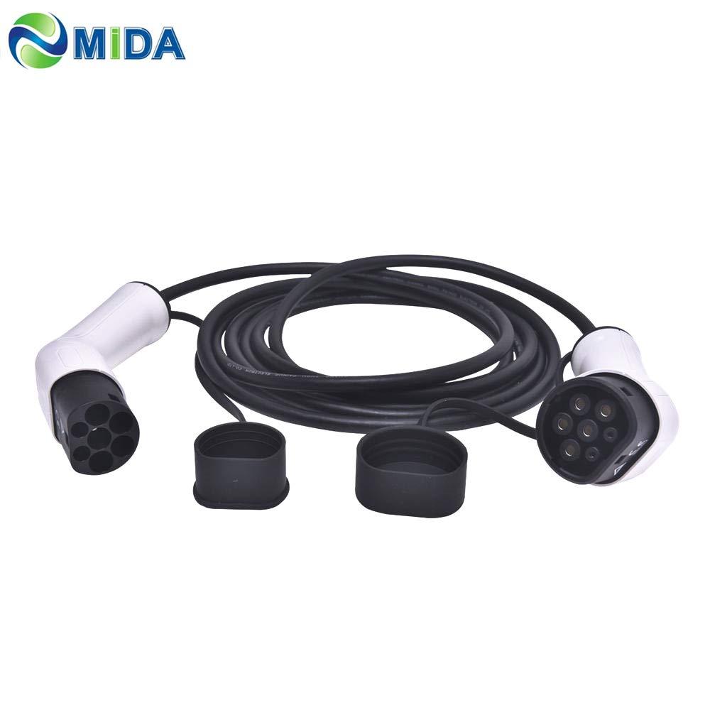 16Amp, trif/ásico ETE ETMATE Cable de Cargador EV Tipo 2 a Tipo 2 IEC62196-2, 11KW, 5M // 17 pies Cable de Carga para veh/ículos el/éctricos