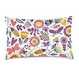 Cotton Velvet Pillowcases Butterflies Beetles Flowers Soft Pillow Protector with Hidden Zipper 20 x 30 Inch
