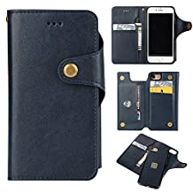 "Wallet Case for iPhone 6S 4.7 inch, iPhone 6 Case Cover, Bonice Wallet Case Premium PU Leather Multi-purpose Magnetic Folio Flip Luxury Detachable Removable Credit Cards Holder Slots Buckle Bussiness Protective Shell for iPhone 6/6S 4.7"" - Dark Blue"