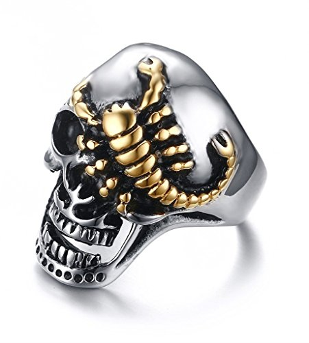 (VNOX Men's Stainless Steel Punk Jewelry Gold Plated Scorpion Crawling Head Skull Finger Ring,Size 10)