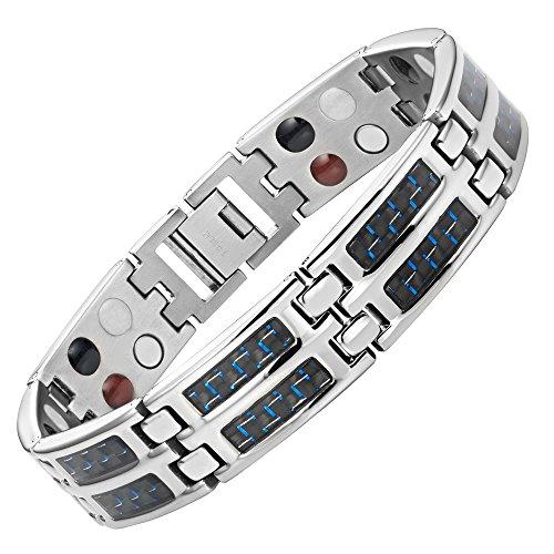 Blue Carbon Fiber Titanium Magnetic 4 Element Bracelet Double Strength Adjusting Tool and Gift Box Included By Willis Judd Black Diamond Titanium Bracelets