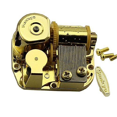 18 Note Gold Windup Clockwork Mechanism Music Box DIY Movement Key Screws (Frozen Let it go) (Grandfathers Clock Music Box)