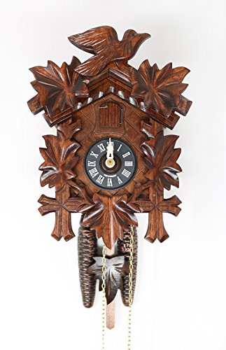 Sternreiter BIRD AND LEAF Model 1200 Black Forest Mechanical Cuckoo Clock, Linden Wood with Half and Full Hour Strike