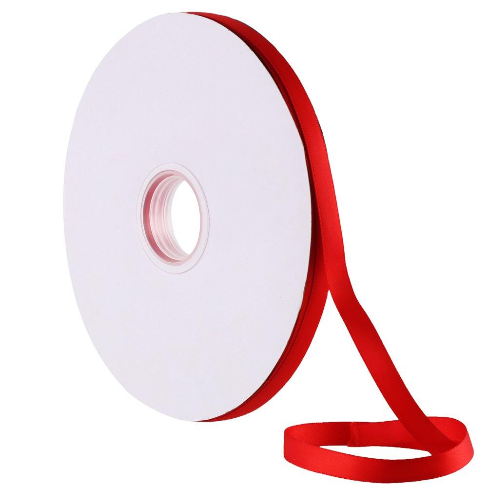 VEYLIN 100M x 10MM Christmas Satin Ribbon Red Ribbon for Christmas Decoration Wedding Craft Gift Wrap