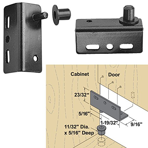 Platte River 166916, Hardware, Hinges, Pivot, Pivot Hinge For Wood Doors Screw On, 4 Pair