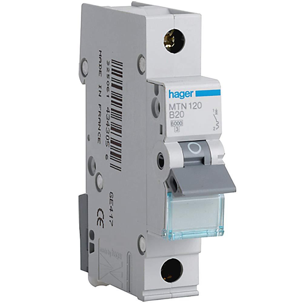 Hager MTN120 Miniature Circuit Breaker, 1 Pole, 1 Module, Type B, 6 kA Breaking Capacity, 20 A Current Hager Ltd