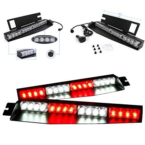 32LED 32W LED Lightbar Visor Light Windshield Emergency Hazard Warning Strobe Beacon Split Mount Deck Dash Lamp (Red&White)