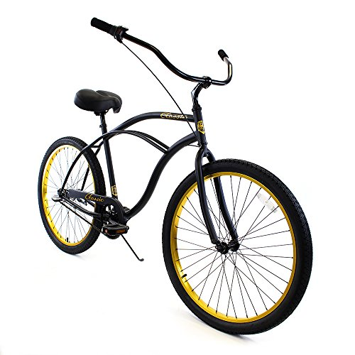 - Zycle Fix Men's Zf Bike-26 3 Speed Classic Beach Cruiser Bicycle, Black Gold, 17