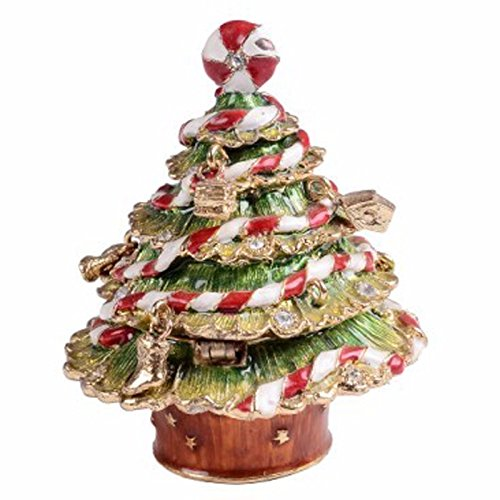 Hinged Jewelry Trinket Box Wedding Ring Holder Organizer (Christmas Tree)