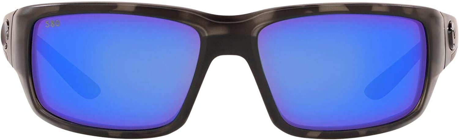 Costa Del Mar Men's Fantail Rectangular Sunglasses, Black/Blue Mirror Polarized-G, 59 mm