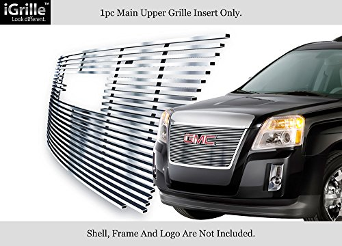 - APS Compatible with 2010-2015 GMC Terrain with Logo Show Main Upper Stainless Steel Silver 8X6 Horizontal Billet Grille Insert G66743C