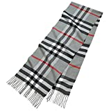 """Cashmere-Feel Scarf, Super Soft & Cozy Luxury Warm Cold Weather Long Shawl 66"""" x 12"""" inch, Elegant Gray Plaid with Red Stripe Fashion Tassel End Scarves Classic for Men and Women by Clara Clark"""