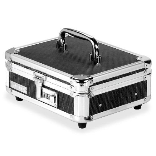 Vaultz Locking Cash Box, Black/Chrome (VZ01002)