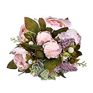 BBtime 2019 Wedding Bouquet,Bouquet Rose Artificial Silk Flower Crystal Pearl Bridesmaid Wedding Bouquet Bride for Wedding Parties and Churches 27