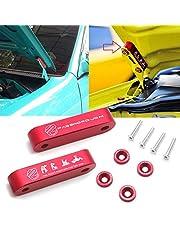 Xotic Tech Hood Spacer Riser Kit for Honda Civic Acura Integra, Red Aluminum Alloy Billet Car Hood Vent Spacer Riser Modification Set