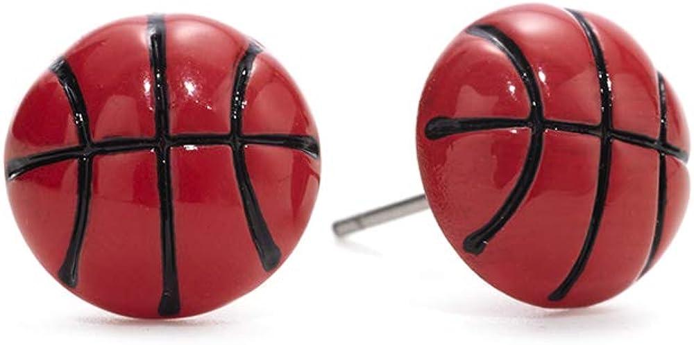GIMMEDAT Basketball Enamel Stud Earrings Jewelry Player Woman Girl Fan Gift: Clothing