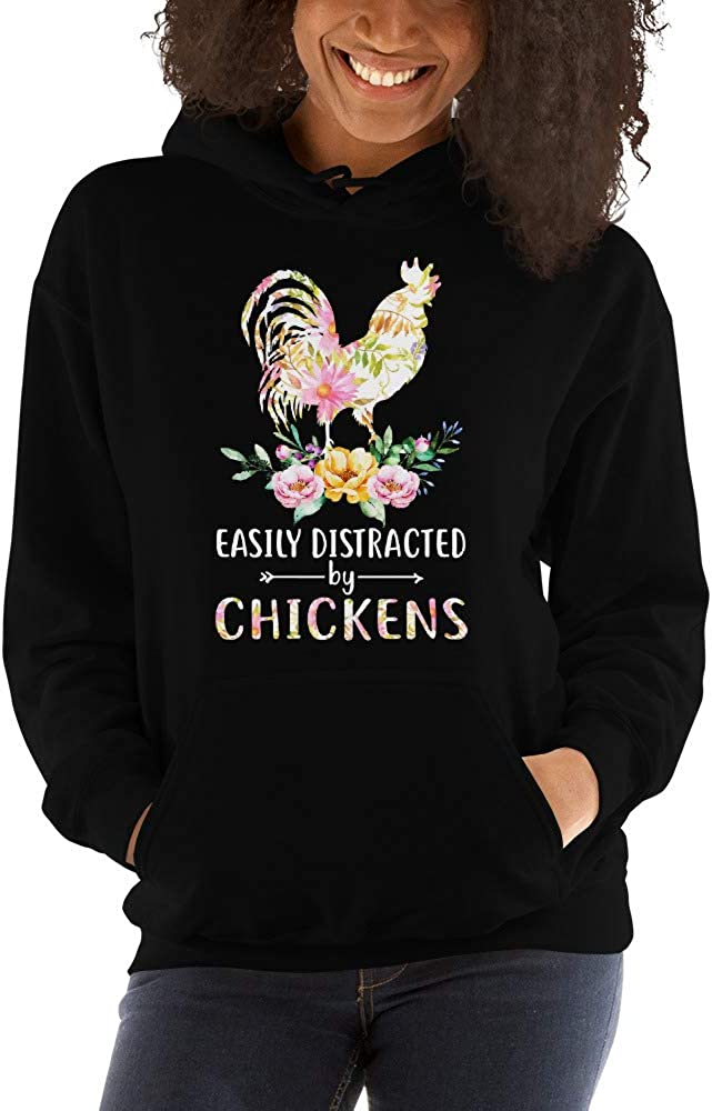 TEEPOMY Easily Distracted by Chickens Funny Unisex Hoodie