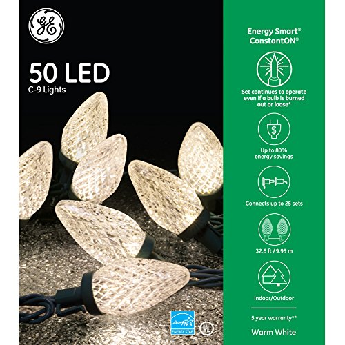 GE Energy Smart ConstantOn 50-Count 32.6-ft Warm White C9 LED Plug-in Indoor/Outdoor Christmas String Lights ()