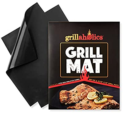 Grillaholics Grill Mat - Set of 2 Non Stick BBQ Grill Mats - Heavy Duty, Reusable, and Easy to Clean - Extended Warranty from DSquared International LLC
