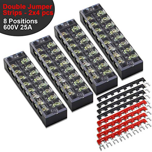 12 pcs (4 Sets) Terminal Block - 4 pcs 8 Positions 600V 25A Dual Row Screw Terminals Strip with Cover + 8 pcs 400V 25A 8 Positions Pre-Insulated Terminal Barrier Jumper Strips Black & Red by MILAPEAK