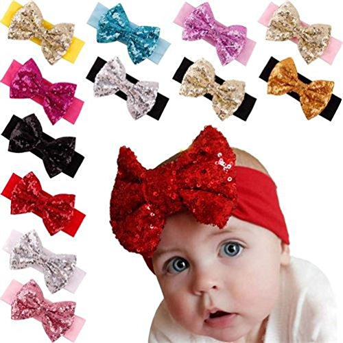 Ms.Gaga Baby Girl Toddler Sequined Bow Head Wrap Hair Band Turban Headband 12PCS