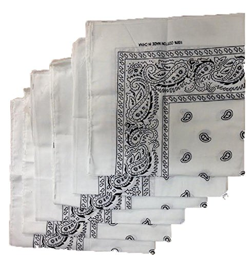 6 Color Pack Paisley Bandana Scarf, Head Wraps WHITE