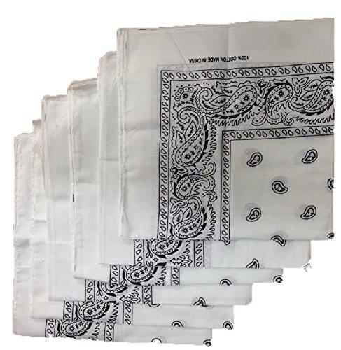 6 Color Pack Paisley Bandana Scarf, Head Wraps WHITE -